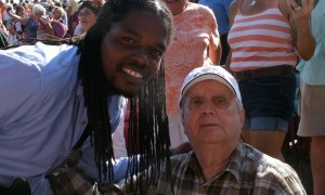 Landau Murphy Jr and 92 yr old WWII Vet. Frank Menendez