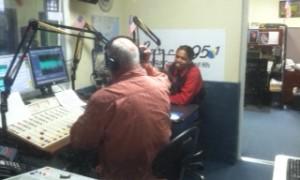 Landau in studio with Jim Dooley at Beach 95.1