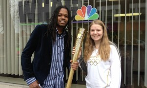 Landau with Olympic Torch carrier at NBC Television in Maryland