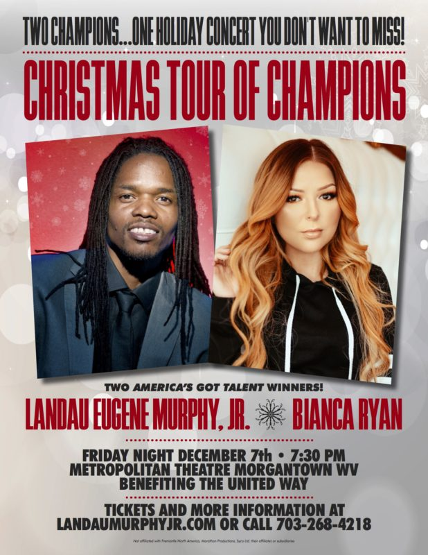 Americas Got Talent Christmas.Christmas Tour Of Champions Comes To Morgantown Friday December 7